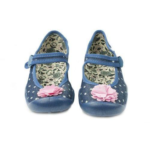 Befado BALERINY dziecięce DZIEWCZĘCE - niebieskie z kwiatkiem, bawełniane, oddychające, 119Y063