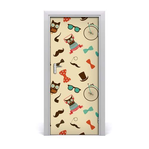 Naklejka samoprzylepna na drzwi Sowa rower okulary