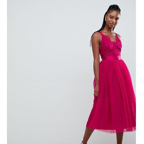 ASOS DESIGN TALL Lace Top Tulle Midi Prom Dress with Ribbon Ties - Pink