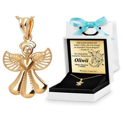 Złoty łańcuszek z zawieszką aniołek 333 grawer zz45 marki Murrano