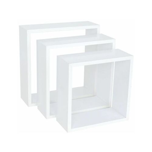 Zestaw 3 półek ściennych cube square biały marki Spaceo