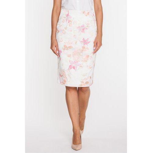 Ołówkowa spódnica w różowe róże - Duet Woman, kolor różowy