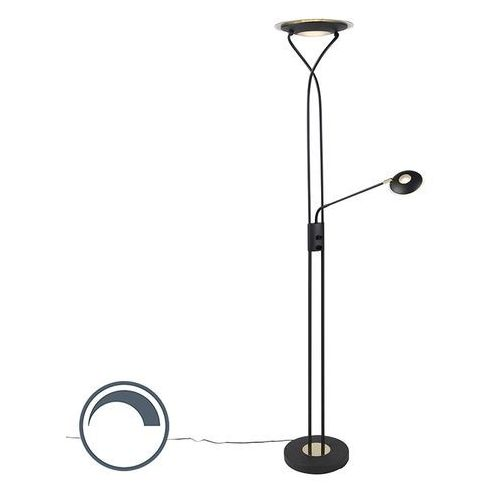 Nowoczesna lampa podłogowa czarna z ramieniem do czytania zawiera led - mallorca marki Qazqa