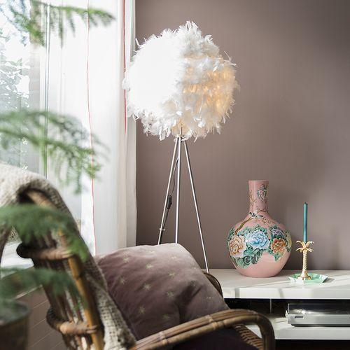 Qazqa Lampa podlogowa feather biala