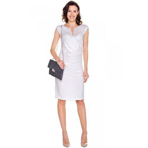 Kremowa sukienka w srebrne kropki - Vito Vergelis, kolor beżowy