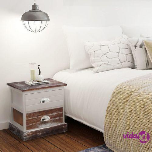 vidaXL Szafka nocna w stylu Shabby Chic, brązowo-biała (8718475971382)