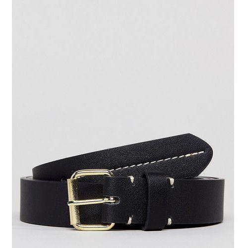 plus smart slim faux leather belt in black with contrast stitch detail - black marki Asos