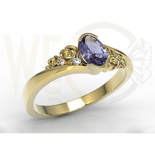 Pierścionek zaręczynowy ze złota ap-39z tanzanitem - żółte \ tanzanit marki Węc - twój jubiler