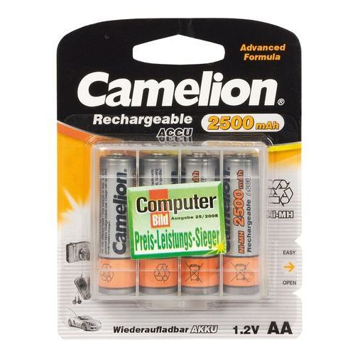 Camelion AA/HR6, 2500 mAh, Rechargeable Batteries Ni-MH, 4 pc(s) (4260033151834)