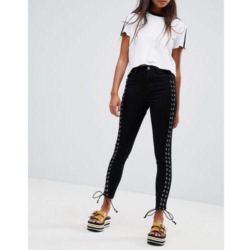 lace up side skinny jeans - black marki Glamorous