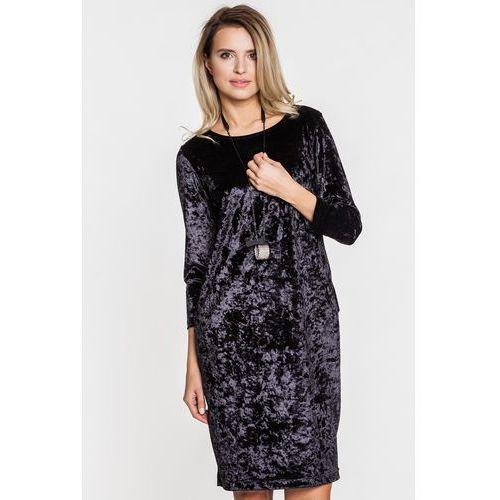Czarna elegancka sukienka z weluru - STUDIO MODY PDB, kolor czarny