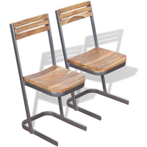 Krzesło do jadalni 2 szt., drewno tekowe