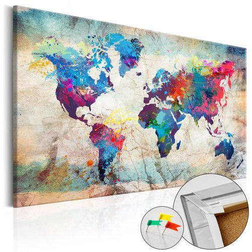 Obraz na korku - mapa świata: kolorowe szaleństwo [mapa korkowa] bogata chata marki Artgeist