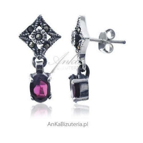 Kolczyki srebrne z granatami i markazytami - sensualna kobiecość. marki Anka biżuteria