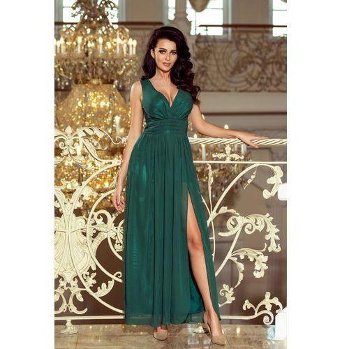 166-5 maxi szyfonowa długa suknia z rozcięciem - zieleŃ butelkowa, kolor zielony