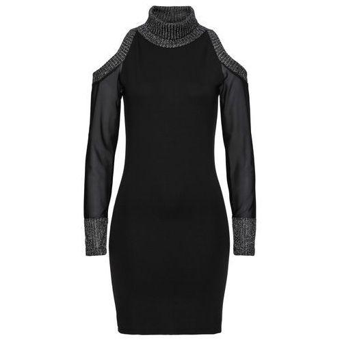 Sukienka shirtowa z prześwitującymi rękawami i wycięciami bonprix czarny, kolor czarny