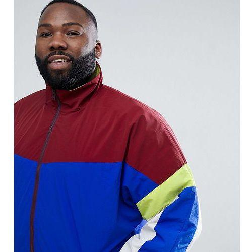 design festival plus windbreaker track jacket in colourblock navy - red marki Asos