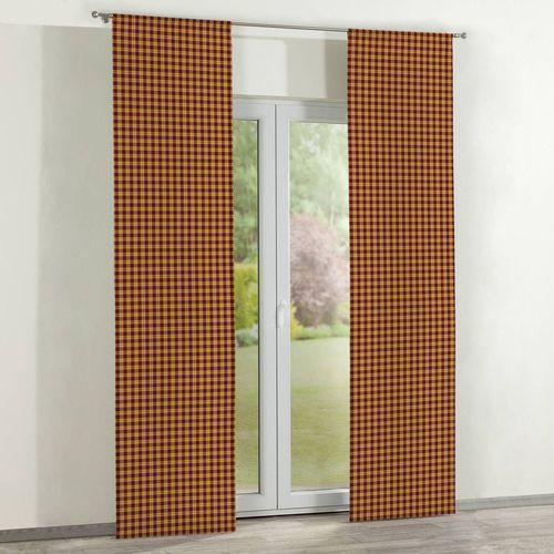 Dekoria Zasłony panelowe 2 szt., mała żółto-bordowo-zielona krateczka, 60 x 260 cm, Wyprzedaż do -30%