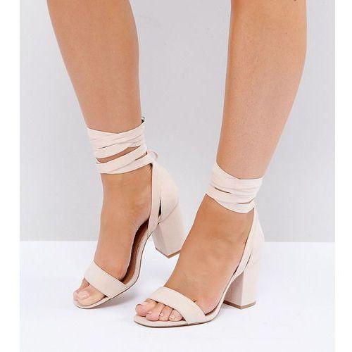 Asos design wide fit howling tie leg heeled sandals - beige