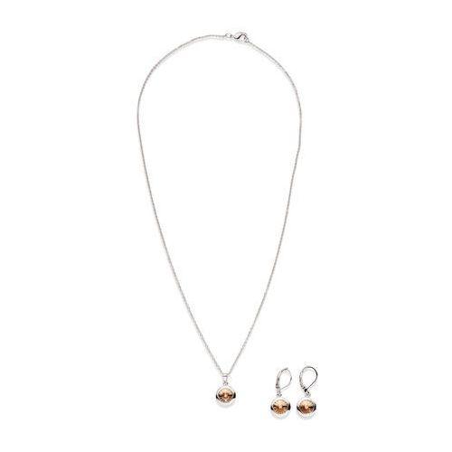Komplet biżuterii z kryształami Swarovskiego® (3 części) bonprix srebrny kolor rodowany