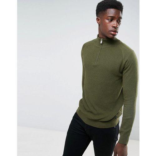 Threadbare Textured front half zip knit - green