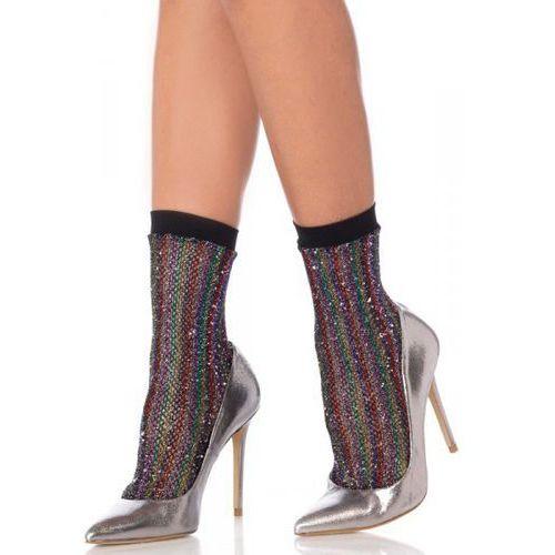 Rainbow lurex fishnet anklets