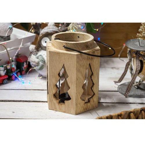 Drewniany świecznik lampion - mix