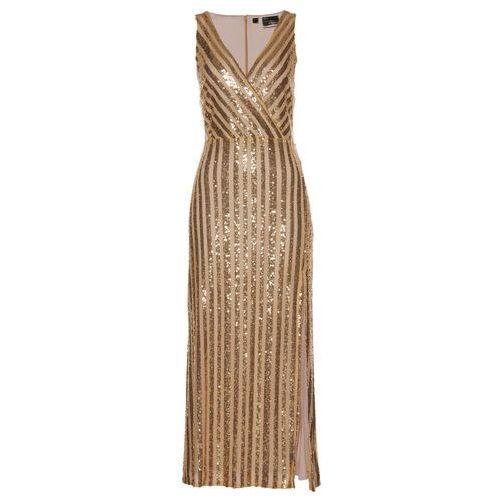 Sukienka wieczorowa z cekinami złoty marki Bonprix