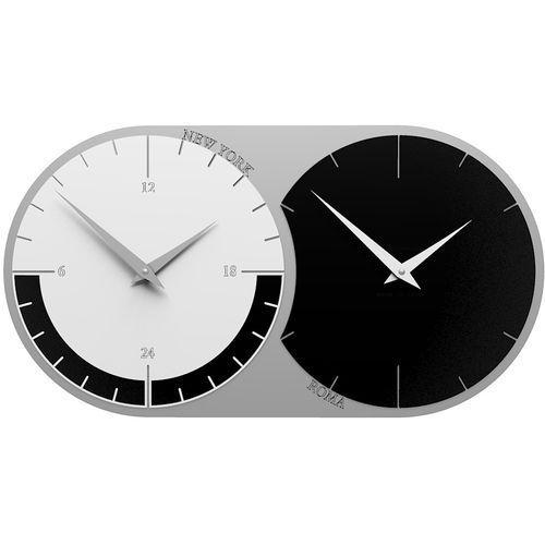 Zegar ścienny - 2 strefy czasowe World Clock CalleaDesign czarny / biały (12-009-5), kolor wielokolorowy