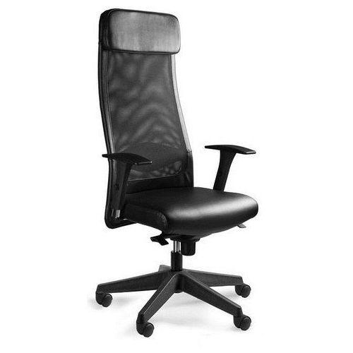 Fotel biurowy ARES SOFT czarny skóra naturalna