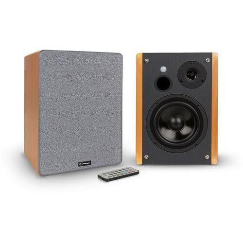 Auna Line 500 A, głośniki regałowe, para głośników aktywnych, 2 x 30 W, wejście opt / coax, wygląd drewniany (4060656156090)