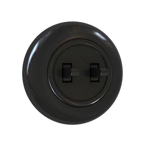 Włącznik podwójny SCHODOWY LF0022B LOFT czarny DPM (5903332587971)