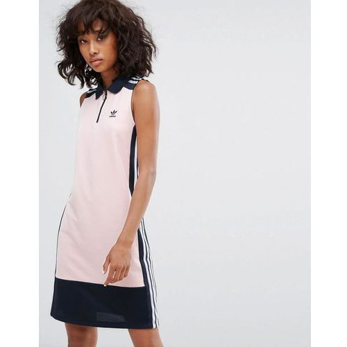 adidas Originals Osaka Sleeveless Polo Dress In Pale Pink - Pink, kolor różowy