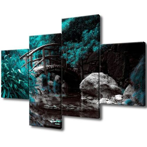 Obraz do salonu japoński ogród woda strumyk mostek marki Cenodi