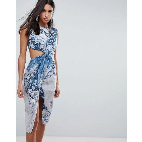Asos design Asos twist front midi pencil dress in abstract print - multi