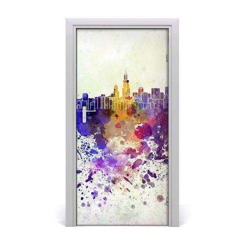 Naklejka samoprzylepna na drzwi Kolorowe Chicago