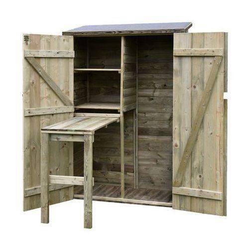 Szafa narzędziowa ogrodowa 120 x 60 x 180 cm ze stolikiem roboczym marki Werth-holz