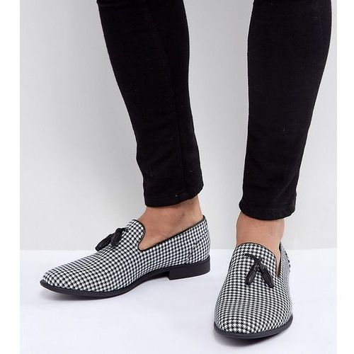 wide fit tassel loafer in black and white check - multi, Asos
