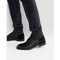 H by hudson yoakley leather lace up boots - black