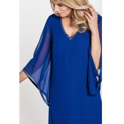 Granatowa sukienka z szyfonu - Vito Vergelis, kolor niebieski