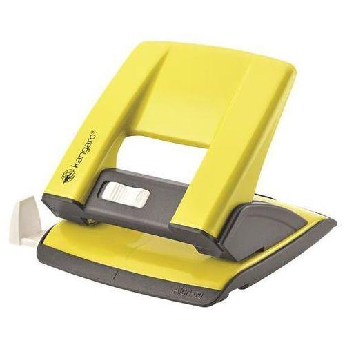 Kangaro Dziurkacz aion-20/s, dziurkuje do 20 kartek, metalowy, w pudełku pp, żółty