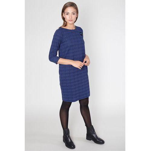 Click fashion Sukienka na co dzień w granatową kratę -