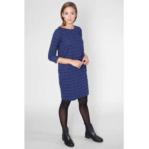 Sukienka na co dzień w granatową kratę - marki Click fashion