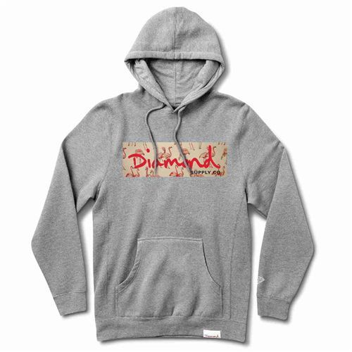 bluza DIAMOND - Flamingo Box Logo Hoodie Heather Grey (HTGR) rozmiar: 2X, kolor szary