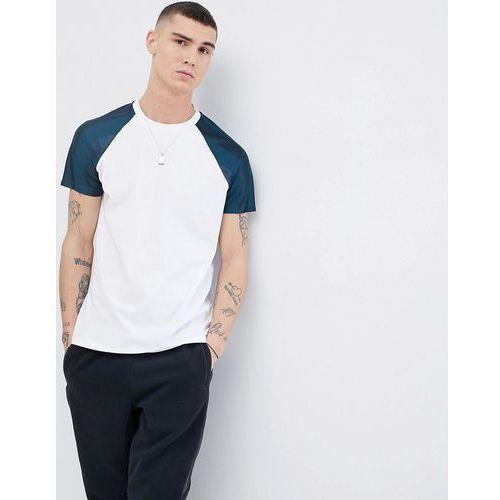 ASOS DESIGN t-shirt with contrast shadow stripe raglan sleeves in white - White, w 8 rozmiarach