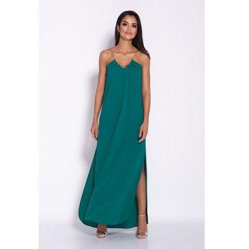 Zielona elegancka wieczorowa sukienka maxi na łańcuszku, kolor zielony