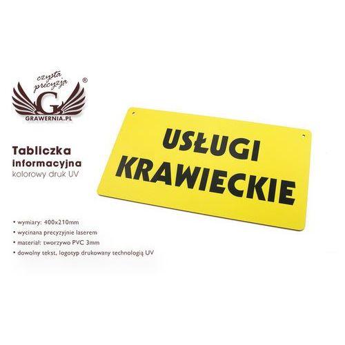 Tabliczka informacyjna z dowolnym tekstem - wym. 400x210mm - pvc - kolorowy druk uv marki Grawernia.pl - grawerowanie i wycinanie laserem