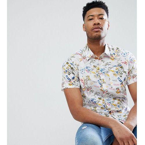 Bellfield TALL Short Sleeve Shirt With Hawaiian Print - White, kolor biały