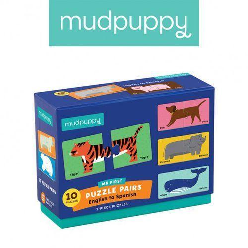 Mudpuppy dwujęzyczne puzzle ze zwierzątkami do nauki pierwszych słów angielski/hiszpański 2+