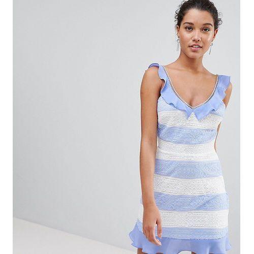PrettyLittleThing Lace Detail Stripe Dress - Blue